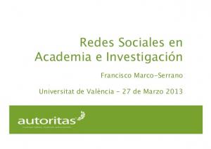 RRSS academia @ UVEG