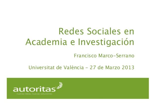 Redes Sociales en Academia e Investigación (Valencia, 2013)